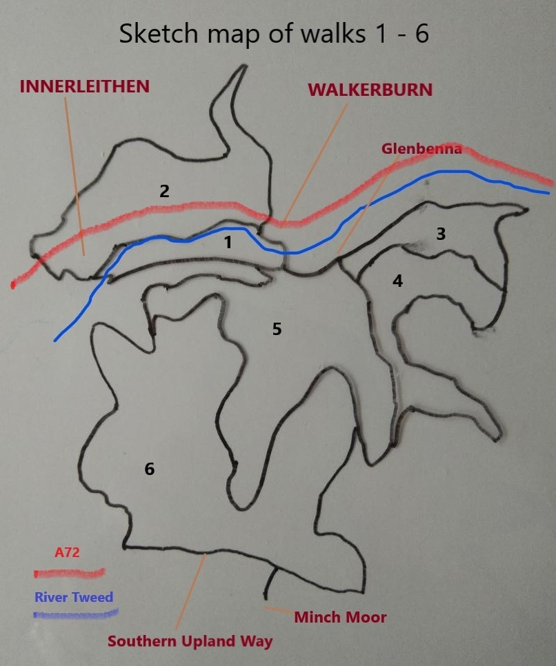 Sketch map showing walk routes